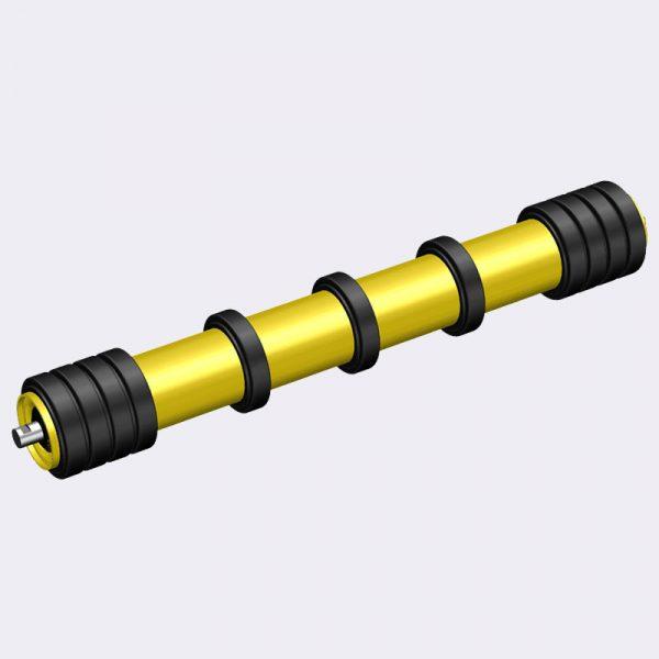 Ролики конвейерные с разнесенными резиновыми кольцами